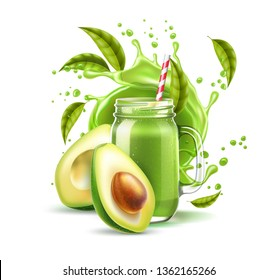 Realistic smoothie mason jar with straw and avocado fruit halves on green juice splash motion. Detox cocktail for healthy lifestyle. Vector vitamin cocktail in juicy explosion flow.