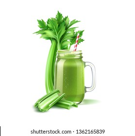 Realistic smoothie mason jar with straw and celery stems. Green fruits and vegetables mix in glass jar. Detox cocktail for healthy dieting. Spinach, kiwi and celery shake. Vector vitamin cocktail