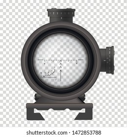 Realistic sniper scope, weapon accuracy and aim symbol. Optical device for use with a rifle to see distant targets. Vector sniper scope  illustration