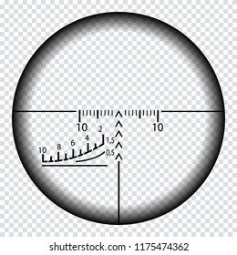 Realistic sniper sight with measurement marks. Sniper scope template isolated on transparent background. Sniper scope crosshairs view. Realistic optical sight.