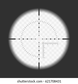 Realistic sniper sight with measurement marks. Sniper scope template isolated on transparent background. View through a rifle scope. Vector illustration. EPS 10.