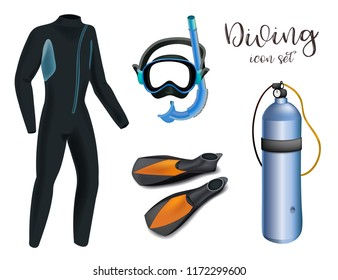 Realistic snorkeling and scuba diving set of elements. Scuba-diving gear isolated. Diver wetsuit, scuba mask, snorkel, fins, regulator dive icons.