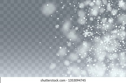 Realistic Snow Background. Illustration for Happy New Year Design. Isolated Snowflakes Background. Fantasy  Snowstorm Illustration Design.