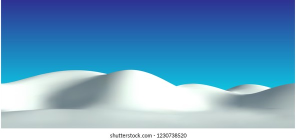 Realistic snow hills landscape. Vector snowdrift illustration. Winter background.