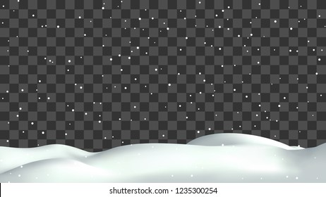Realistic snow hills landscape. Vector snowdrift with falling snowflakes illustration. Winter background