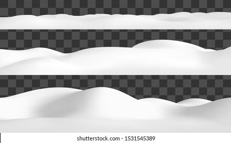 Realistic snow hills landscape. Vector snowdrift illustration. Winter background