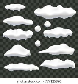 Realistic snow, ice caps set isolated on transparent  background.. Snowfall. Winter season. Vector illustration