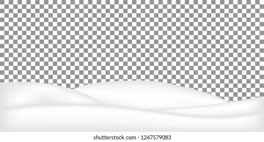 Realistic snowdrift isolated. Vector illustration of snow hills. Winter snowy landscape with snow drifts.