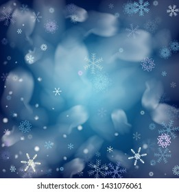 Realistic Snowfall Vector on Blue. Holidays Background, Christmas, New Year Sky. Realistic Snowfall Pattern, Falling Snowflakes Overlay. Winter Dots, Storm Sky, Frost Effect Magic Ice Square Frame.