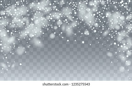 Realistic Snowflakes Background. Winter Snowy Vector Illustration. Background with Flying Snowflakes. Fantasy  Snowstorm Illustration Design.