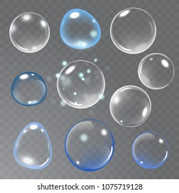 Realistic soap bubble on transparent background. vector soap bubble illustration. Soap Bubble set. Vector illustration