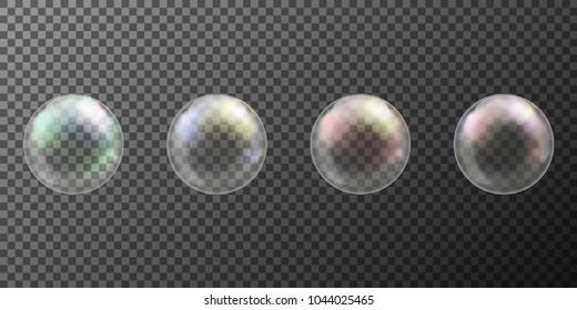 Realistic soap bubble with rainbow colors on black background. vector soap bubble illustration. Soap Bubble set. Object on a white background, Vector illustration