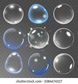 Realistic soap bubble set on transparent background. vector soap bubble illustration. Soap Bubble set. Vector illustration