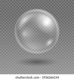 Realistic soap bubble. Transparent water bubble. Bubble from washing. Shampoo, foam.