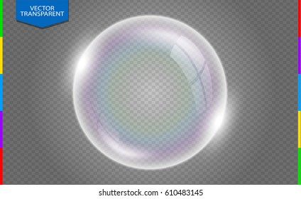 Realistic soap bubbles with rainbow reflection isolated on transparent background. Vector illustration.