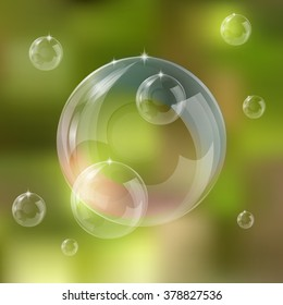 Realistic soap bubbles set isolated vector illustration