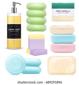 Realistic soap set with colored pieces of solid soap and spray with liquid soap isolated on white background vector illustration