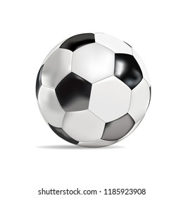 Realistic soccer ball classic black and white isolated vector illustration