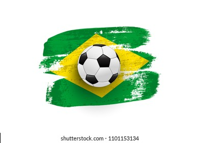 Realistic soccer ball on flag of Brazil made of brush strokes. Vector design element.