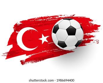 Realistic soccer ball on flag of Turkey made of brush strokes. Vector football design element