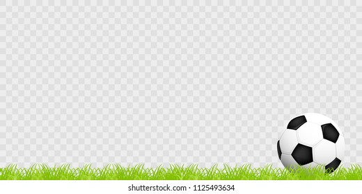 Realistic soccer ball on the grass on a transparent background