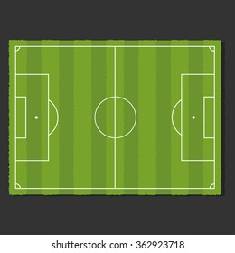 A realistic soccer field. Vector illustration on dark background