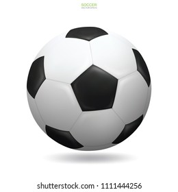 Realistic soccer football ball on white background with soft shadow. Vector illustration.