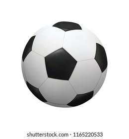 Realistic soccer football ball on white background. Vector illustration.