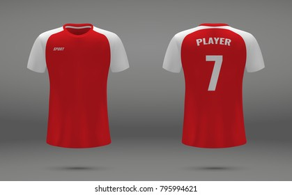 Realistic soccer jersey, t-shirt of Arsenal London, uniform template for football club