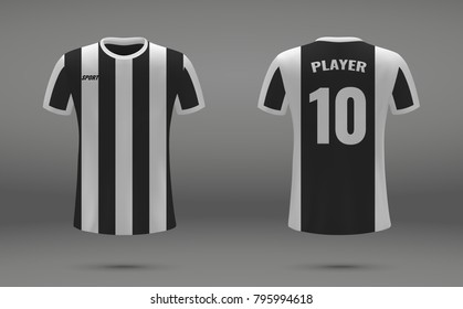 Realistic soccer jersey, t-shirt of Juventus, uniform template for football club