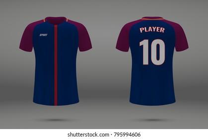 Realistic soccer jersey, t-shirt of Paris SG, uniform template for football club