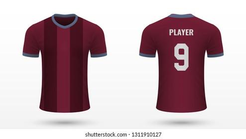 Realistic soccer shirt Aston Villa, jersey template for football kit. Vector illustration