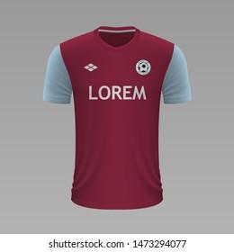 Realistic soccer shirt Aston Villa 2020, jersey template for football kit. Vector illustration