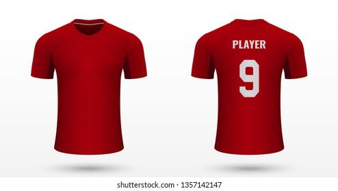 Realistic soccer shirt AZ Alkmaar, jersey template for football kit