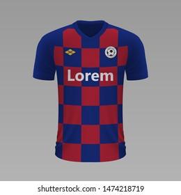 Realistic soccer shirt Barcelona 2020, jersey template for football kit. Vector illustration
