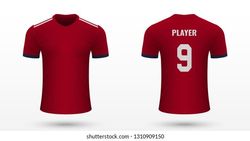 Realistic soccer shirt Bayern Munich, jersey template for football kit. Vector illustration
