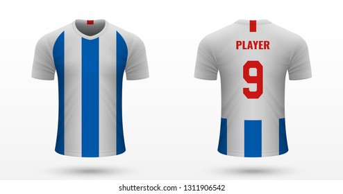 Realistic soccer shirt  and Hove Albion, jersey template for football kit. Vector illustration