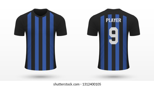 Realistic soccer shirt Inter, jersey template for football kit. Vector illustration