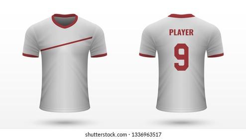 Realistic soccer shirt Köln, jersey template for football kit. Vector illustration