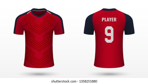 Realistic soccer shirt Lille, jersey template for football kit