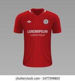 Realistic soccer shirt Mainz 2020, jersey template for football kit. Vector illustration