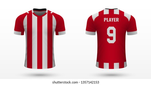 Realistic soccer shirt PSV Eindhoven, jersey template for football kit