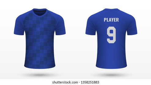 Realistic soccer shirt Strasbourg, jersey template for football kit