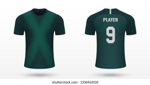 Realistic soccer shirt Wolfsburg, jersey template for football kit. Vector illustration