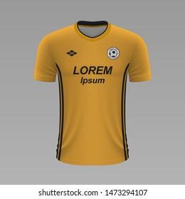 Realistic soccer shirt Wolverhampton 2020, jersey template for football kit. Vector illustration