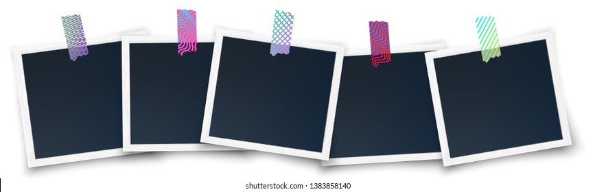 Realistic soft photo frames glued on the wall with japanese washi tape stickers. Instagram printed photo mockup.Isolated on white with shadow vector illustration