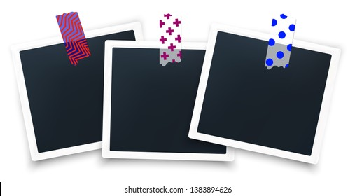 Realistic soft photo frames glued on the wall with japanese washi tape stickers. Isolated on white with shadow vector illustration. Instagram printed photo