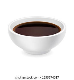 Realistic soy sauce in a bowl. 3d vector illustration of balsamic vinegar isolated on white background. Dressing in round ramekin. Side view