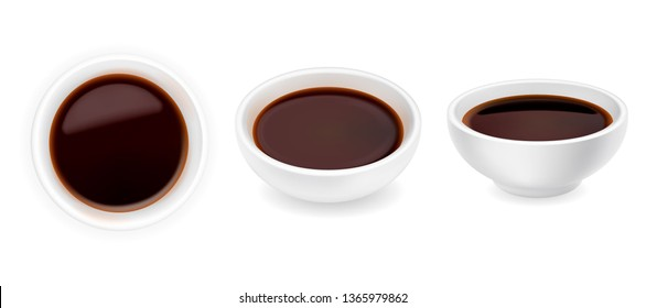 Realistic soy sauce in a bowl set. 3d vector illustration of balsamic vinegar isolated on white background. Dressing in round ramekin. Side and top view