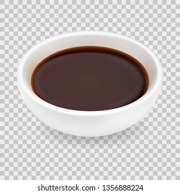 Realistic soy sauce in a white bowl. 3d vector illustration of balsamic vinegar isolated on transparent background. Dressing in round ramekin. Side view
